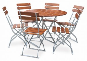 EuroLiving Biergartengarnitur Edition-Classic ocker verzinkt 1x Tisch Ø100 & 6x Stuhl
