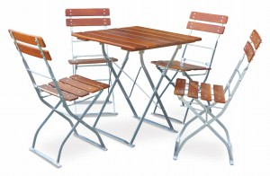 EuroLiving Biergartengarnitur Edition-Classic ocker verzinkt 1x Tisch 70x70 4x Stuhl