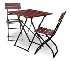 EuroLiving Edition-Classic kastanie schwarz Tisch 70x70 + 2x Stuhl
