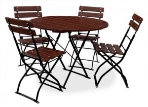 EuroLiving Edition-Classic kastanie schwarz Tisch rund + 4x Stuhl