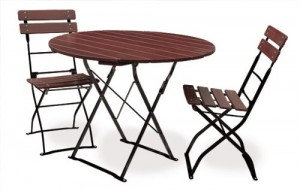 Classic kastanie schwarz - Garnitur Tisch Ø 2x Stuhl