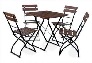 Classic kastanie schwarz - Garnitur Tisch 70x70 4x Stuhl