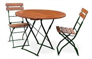 Classic ocker grün - Tisch Ø 2x Stuhl