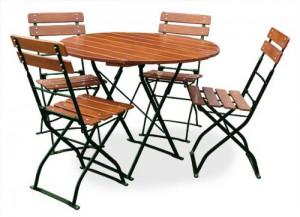 Classic ocker grün - Tisch Ø 4x Stuhl