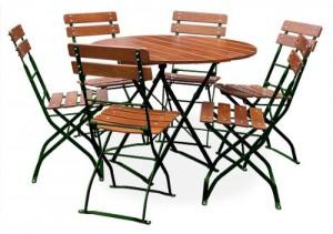 Classic ocker grün - Tisch Ø 6x Stuhl