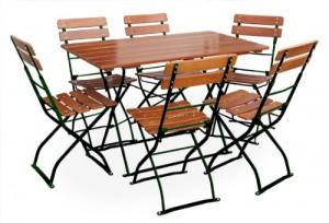 Classic ocker grün - Tisch 120x70 6x Stuhl