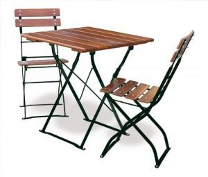 Classic ocker grün - Tisch 70x70 cm 2x Stuhl