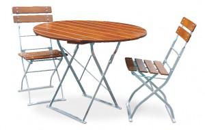 Classic ocker verzinkt - Set Tisch Ø 2x Stuhl
