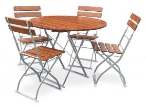 Classic ocker verzinkt - Set Tisch Ø 4x Stuhl