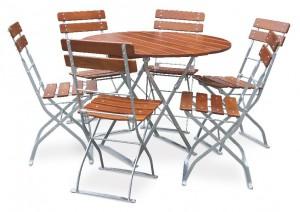 Classic ocker verzinkt - Set Tisch Ø 6 Stühle