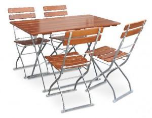 Classic ocker verzinkt - Set Tisch 120x70 4x Stuhl
