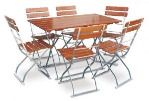 Classic ocker verzinkt - Set Tisch 120x70 6x Stuhl