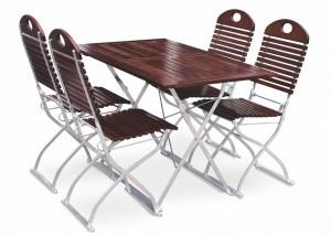 EuroLiving Biergartengarnitur Edition-Exklusiv kastanie verzinkt 1x Tisch 120x70 & 4x Stuhl