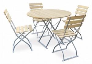 EuroLiving Biergartengarnitur Edition-Natur 1x Tisch Ø100 & 4x Stuhl