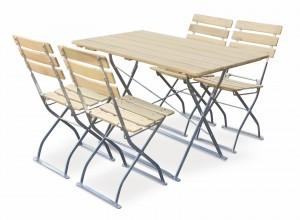 EuroLiving Biergartengarnitur Edition-Natur 1x Tisch 120x70 & 4x Stuhl