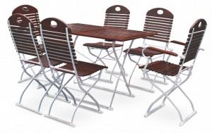 EuroLiving Biergartengarnitur Edition-exklusiv kastanie verzinkt 1x Tisch 120x70 & 4x Stuhl &2x Sessel