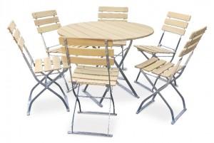 Natur - Set Tisch Ø 6x Stuhl
