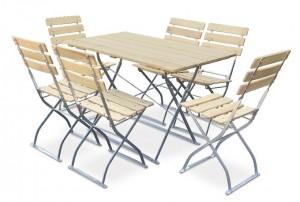 Natur - Set Tisch 120x70 6x Stuhl